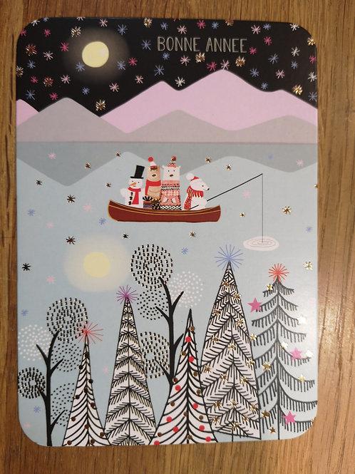 Carte postale: Noël  - animaux,lac - Carte d'art