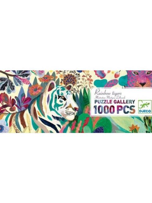 """Puzzle gallery - Rainbow tigers 1000 pcs """"Djeco"""""""