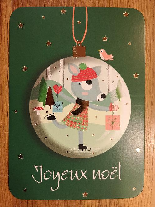 Carte postale: Joyeux Noël - Boule - Carte d'art