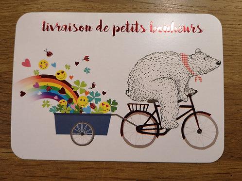Carte postale: livraison de p'tits bonheurs - Carte d'art