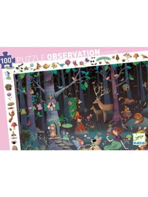 """Puzzle observation - La forêt enchantée  100 pcs """"Djeco"""""""