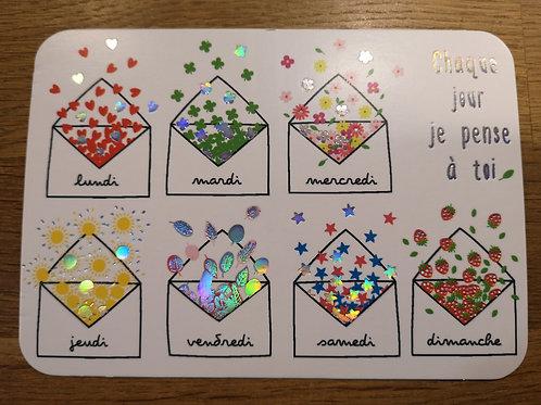Carte postale: je pense à toi - Carte d'art