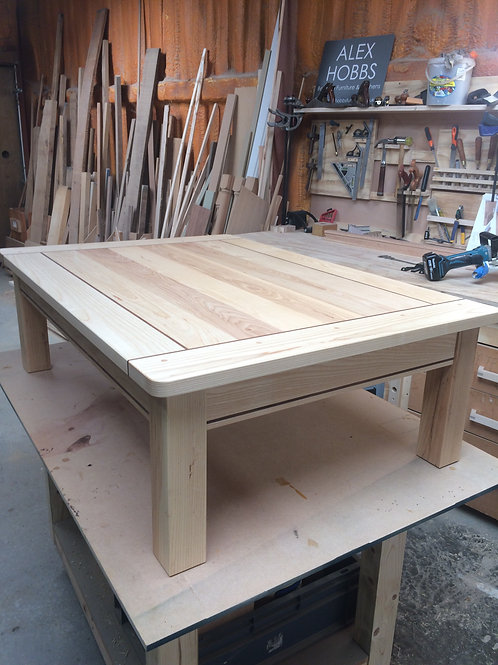 Solid Ash Coffee Table with Walnut Detail