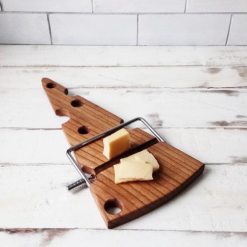 Доска для нарезки и подачи сыра S91 из вяза (слайсер в комплекте)