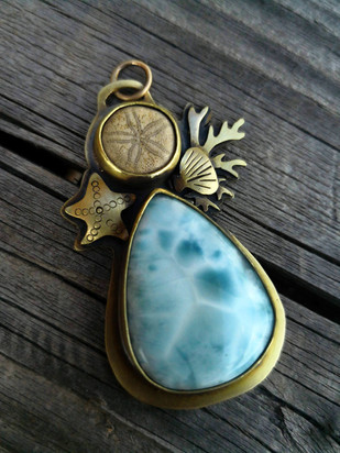 Sea urchin and larimar pendant