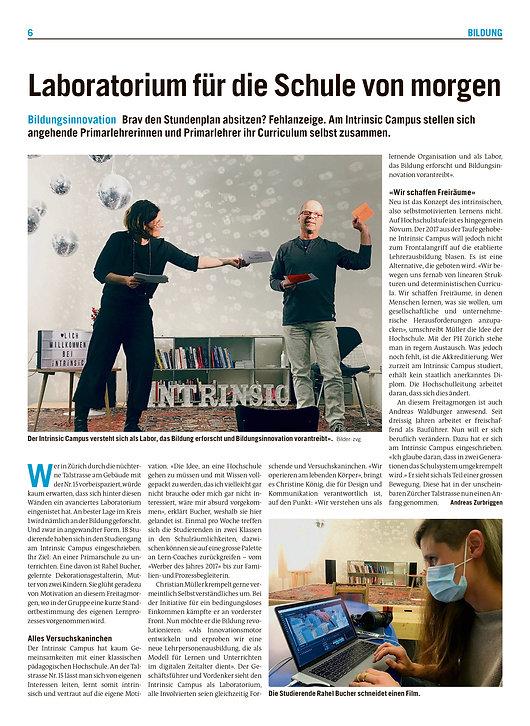 Intrinsic im Tages-Anzeiger / 27.1.2021