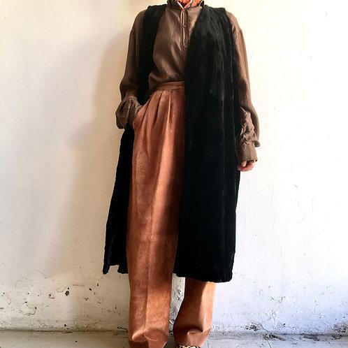 vintage faux fur long vest