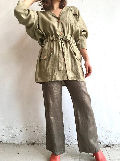 oversized linen safari jacket
