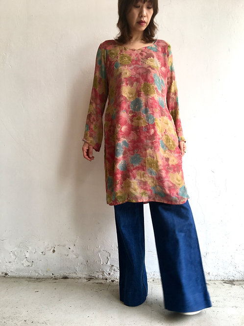 water colour floral silk tunic dress