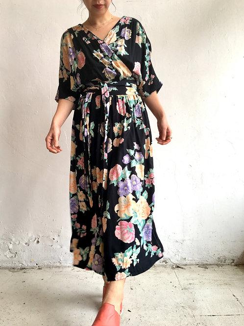 Rayon black floral wrap dress