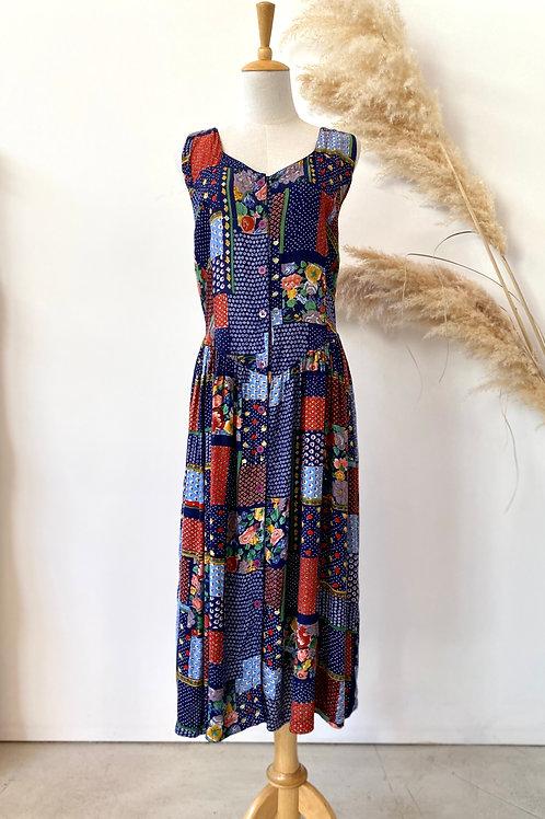 90s patch work flower print dress