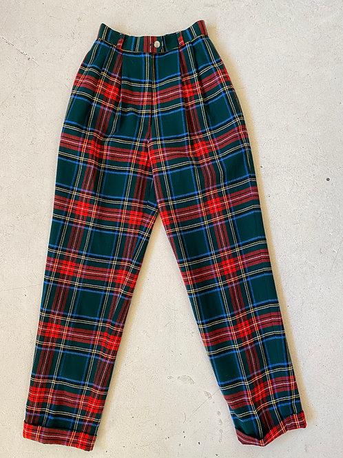 tartan wool tapered pants