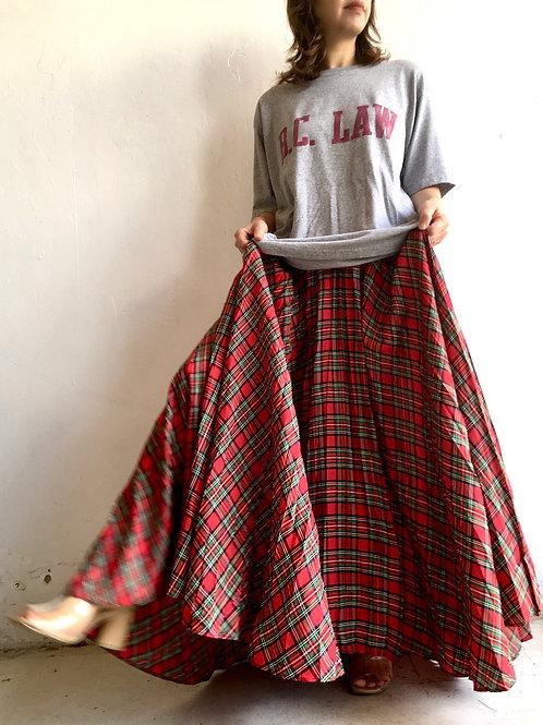 red tartan accordion maxi skirt