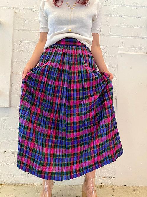 Silk plaid pleats skirt