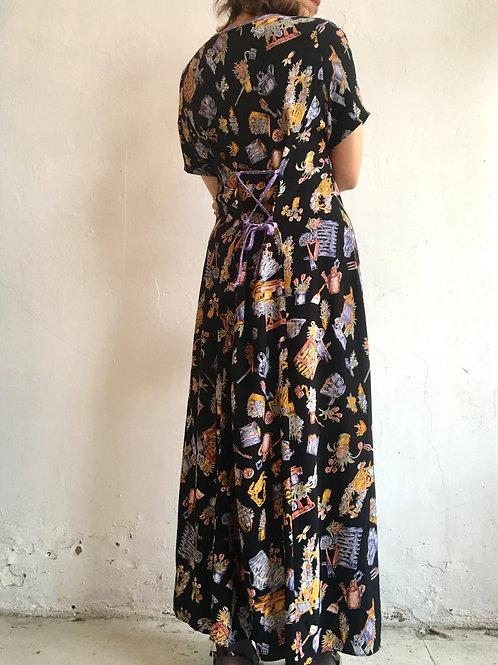 lace-up back rayon flower vase print dress