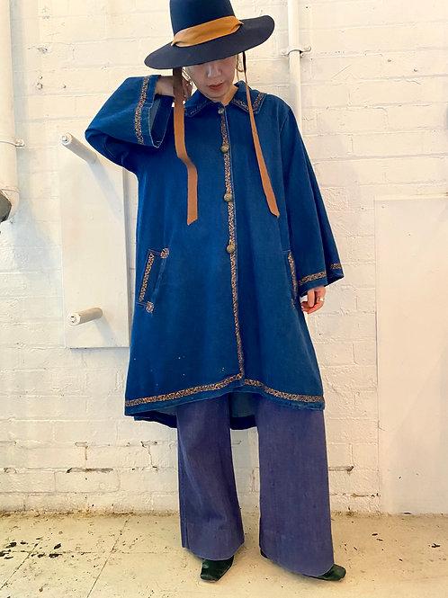 A-line denim long jacket