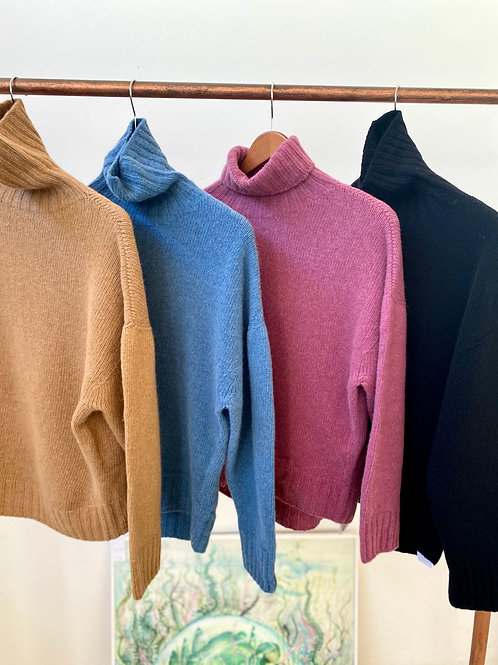 wool cashmere turtle neck knit