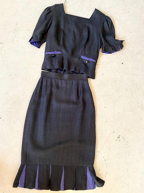 Black linen skirt suit