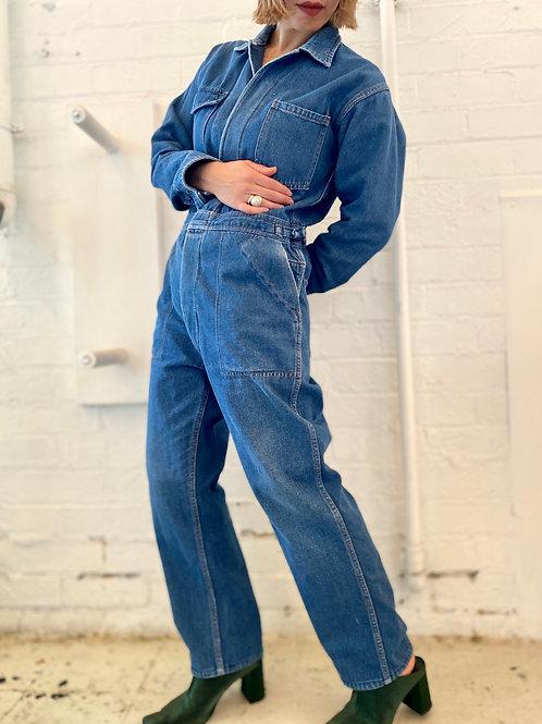 Denim long sleeve jumpsuit