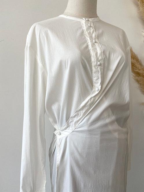 wrap style cotton shirt long dress