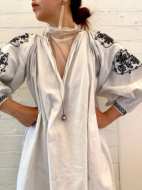 Antique cotton embroidered dress