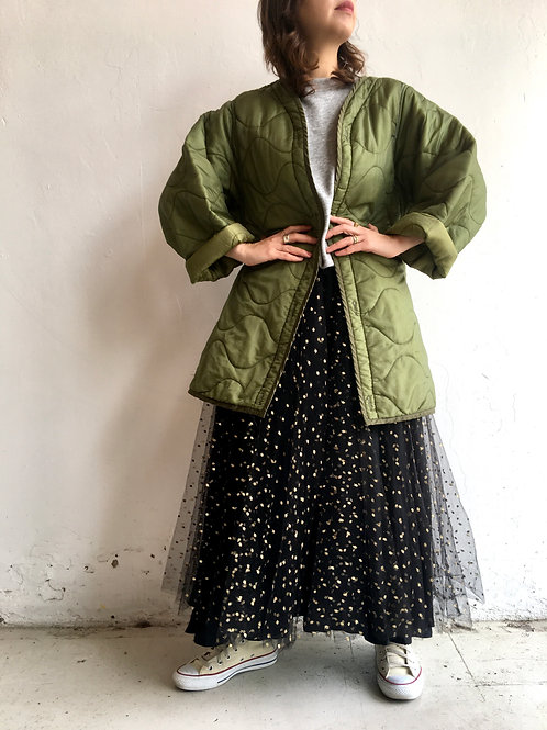 khaki quilted liner army jacket