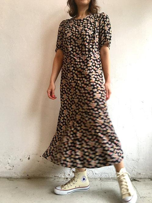 vintage leaf print silk dress