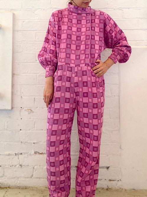 80s square print jumpsuit