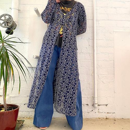 90s floral lace pattern slit dress