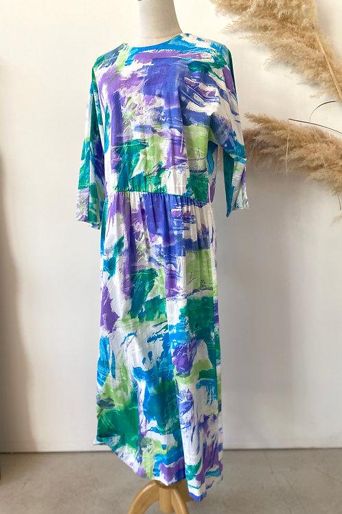 80s/90s water colour paint print dress