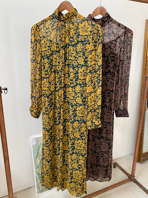 georgette leaf print dress