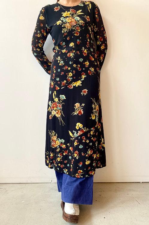 90s rayon black flower dress