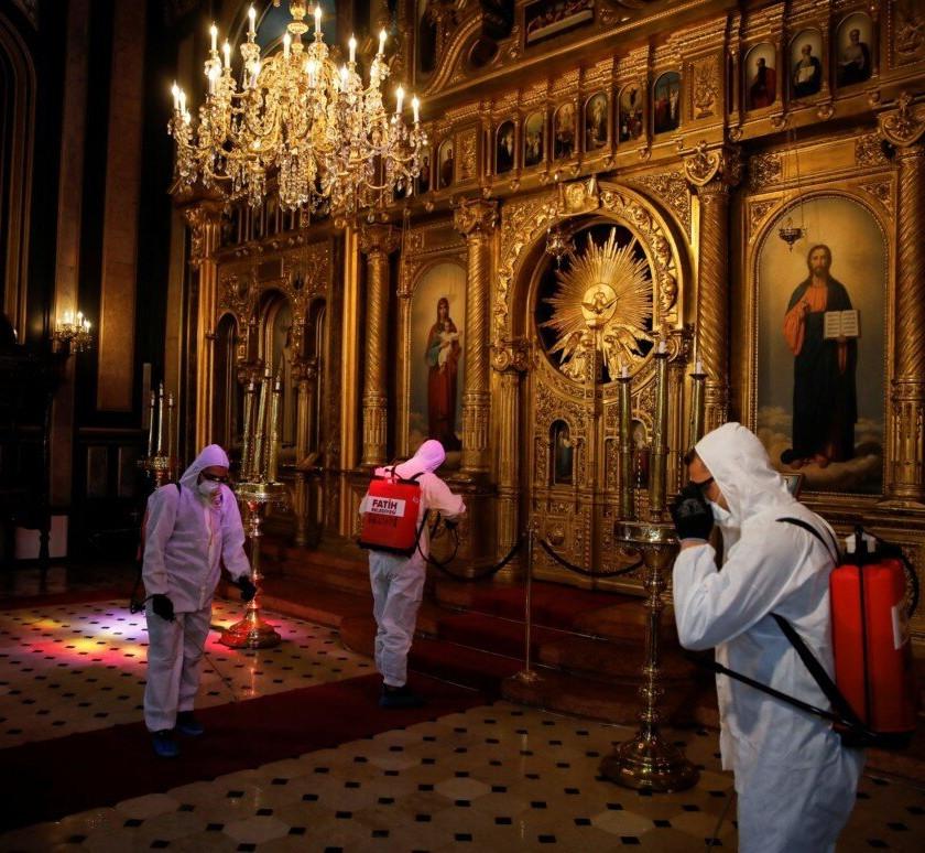 Disinfecting A Greek Church