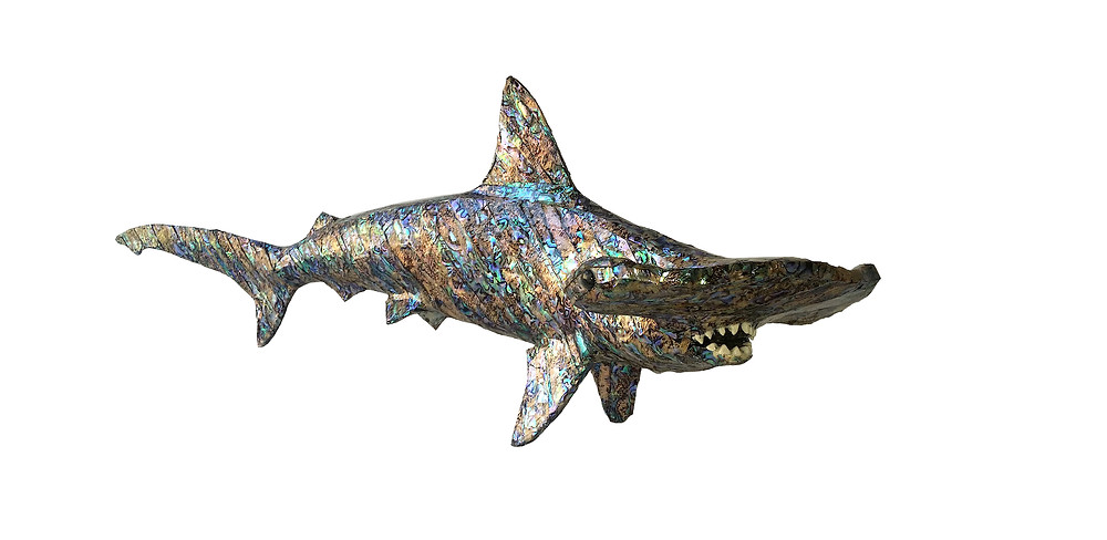 Paua Mother of Pearl Hammerhead Table Sculpture