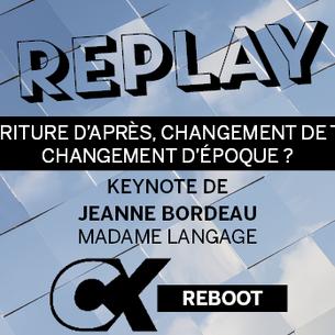 Keynote avec Jeanne Bordeau, CEO de Madame Langage