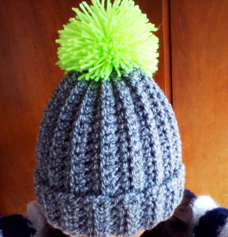 CROCHET SUPER EASY RIBBED HAT WITH POM POM | Turtle Whicky Crochet ...
