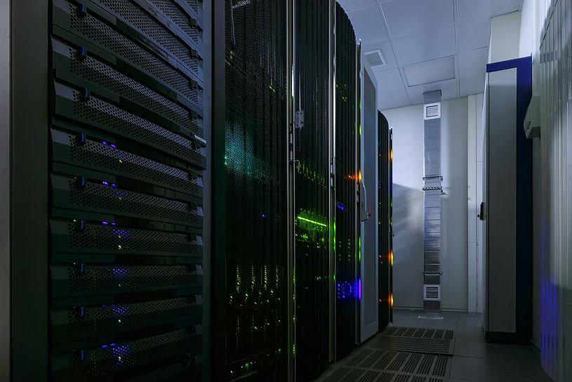 rackserver hardware in the data center.j