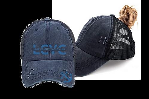 LCYC Women's Criss Cross Distressed Ponytail Baseball Cap
