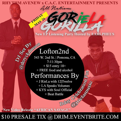 Video Release & EP Listening party for Artists J RieLa & D.Rimson