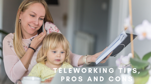 teleworking mom with toddler