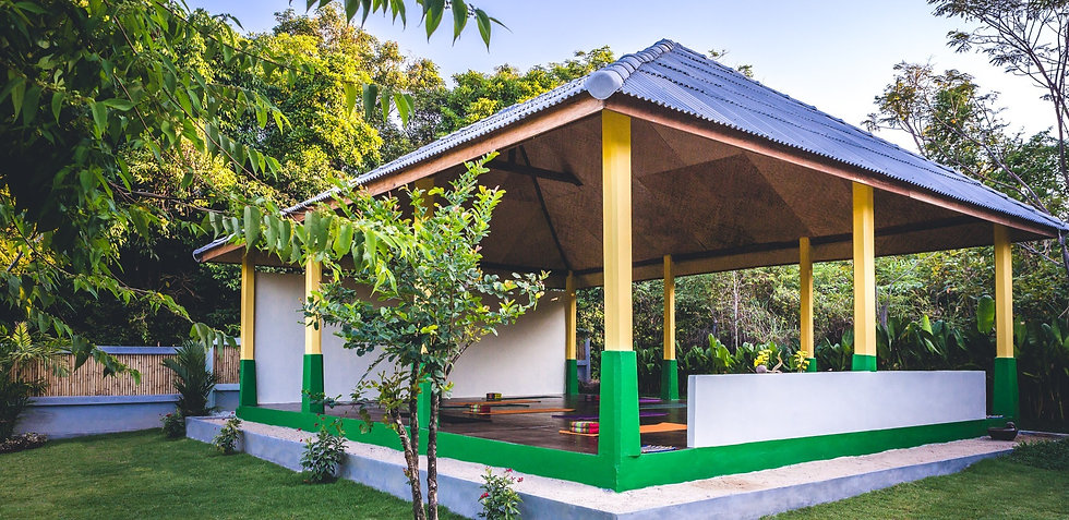 Image of the Lanta Yoga Shala set in beautiful tropical gardens in Koh Lanta Thailand
