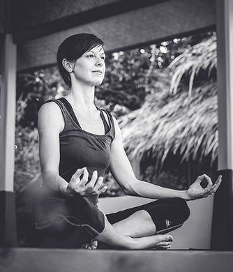 Photo of the yoga teacher at Lanta Yoga meditating.  My Yoga Journey. Koh Lanta. Thailand