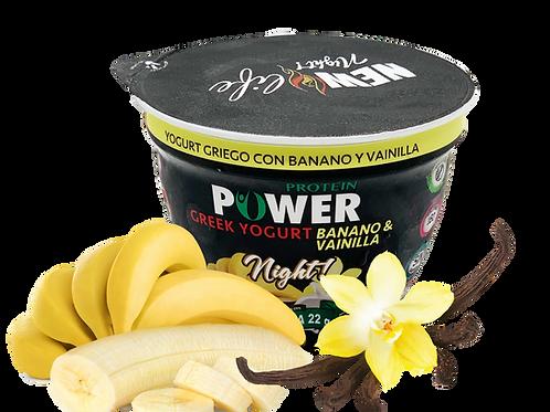 Yogurt griego con banano vainilla