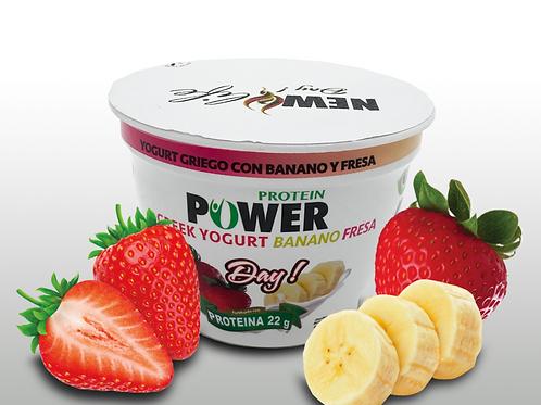 Yogurt griego con banano fresa
