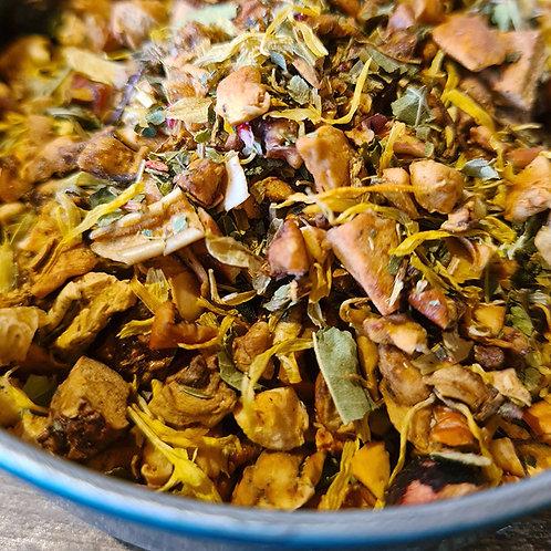 Tisane des Elfes, Rooibos vert, pomme, verveine, orange, murier, cassis