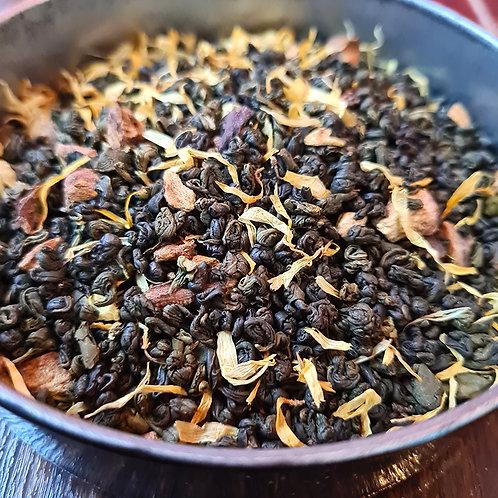 Thé vert bio Dans le Bons Sens | Gunpowder, vanille, figue, rhubarbe, souci