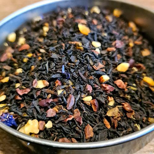 Thé noir bio Roasted nuts   Noisette, cannelle, cacao, noix, vanille, bleuet