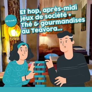 🎲 Et hop, après-midi jeux de société + thé & gourmandises au Teavora...