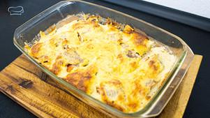 Schneller Auflauf mit Seelachs Filet und Käse - Einfaches Mittagessen mit Fisch