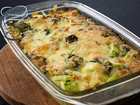 Zucchini Auflauf mit Gouda Käse überbacken